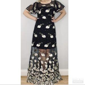 Metisu embroidered beaded flutter sleeve dress